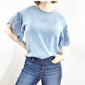 Style Envy Chambray Top With Eyelet Sleeves